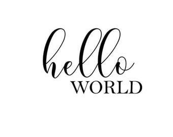 Hello World baby onesie SVG cut file, baby shower, baby gift, onesie