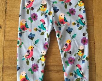 Lavender Birds Cotton Knit Leggings