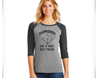 BASEBALL SHIRT. Diamonds Are a Girls Best Friend. Baseball Shirt. Women's Baseball Shirt.