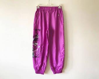 Vintage Purple Running Pants High Waist Colorful Breakaway Windbreaker Track Pants Running Trousers Made In Austria Track Pants Size Large