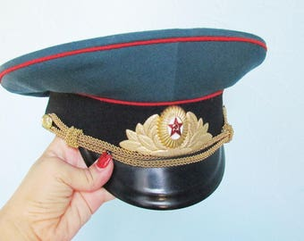 Vintage Military Hat Cap Military Cap Soviet Army Cap Soviet Officer's Cap Soviet Air Force Cap russian aviation