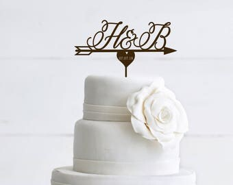 Wedding Cake Topper Initials Cake Topper Custom Cake Topper  Personalized  Wood Cake Topper Wedding Arrow Cace Topper