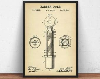 Barber Shop Decor, Barber Pole Patent Print, Digital Download, Barber Pole Blueprint, Vintage Salon Wall Art, Barber Gifts Barber Printable