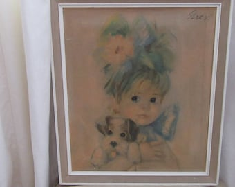 Vintage Gift. John Strevens. Strev Big Eye Girl. Vintage 1960 John Strevens. Framed Picture Big Eye Girl with Puppy. Nursery.