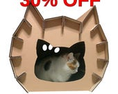 Meow Cardboard House, Cat Furniture, Cat Toy, Cat Bed, Cat Cave, Pet House, Cardboard Furniture