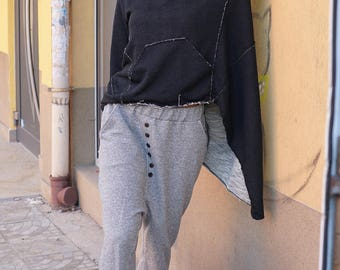 Baggy Oversized Pants, Fall Winter Drop Crotch Trousers, Gray Harem Pants, Buttons Maxi Trousers