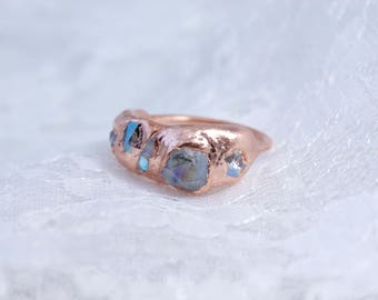 Swarovski Crystal Cluster   Electroformed Copper Ring
