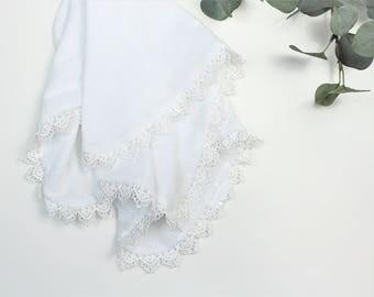 Lace Cotton Gauze Lovey, White Cotton Gauze White Lace Lovey, Cotton Lovey