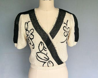 shy flirt / hand knit cream and black floral wrap sweater / 6  8 small