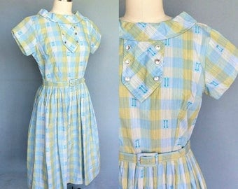 sockhop / 1950s check plaid dress with rolled collar neckline /  8 10 small medium