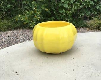 Midcentury Bright Yellow Mini California Pottery Pumpkin Shaped Planter