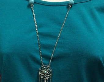 Dream Catcher Necklace, Turquoise necklace, Tassel necklace, Silver chain, Long statement necklace