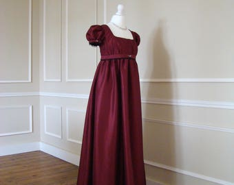 French late 18th century style Josephine Burgundy taffeta empire dress