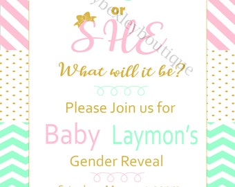 He or She What will it Be Gender Reveal Invite