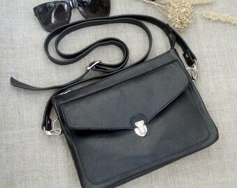 Black leather man bag small crossbody bag organizer documents Clutch bag iPhone bag handmade unisex tablet bag woman handbag upcycled bag