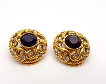 Vintage Clip on Vendome Earrings Black and Clear Rhinestones Gold Tone Metal Round Stud Classic Retro Fashion Runway Feminine