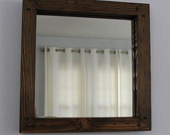 Rustic Reclaimed Wood Mirror Square 17x17 Distressed Wood Frame Mirror Square Rustic Mirror Salvaged Wood Bathroom Mirror Vanity Mirror