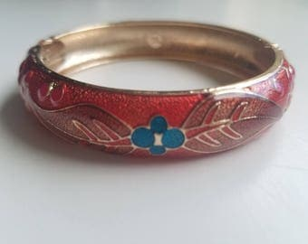 Stunning Vintage Ruby Bangle with Handpainted Blue Flowers with Gold Accent Trim - Boho and Gorgeous. Bangle opens and closes on the side.