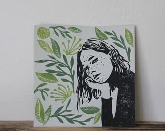 Day Dreamer With Plants #2 Square Lino Print