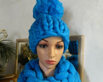 Blue Chunky Hat Winter Pom Pom Hat  Obersized Women Hat Thick Knitted Hat Wool Chunky Hat Teen Girl Hat Gift for Women Valentine's day gift.