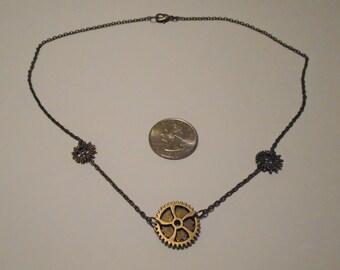 Bronze Steampunk Gears Necklace