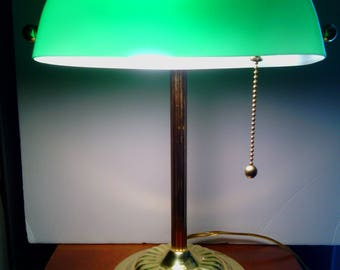 Vintage Green Glass Shade Bankers Desk Lamp From the 1980's