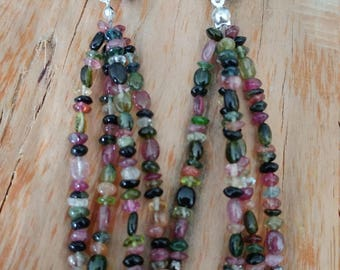 Semiprecious small beads earrings with silver plated ear hooks.