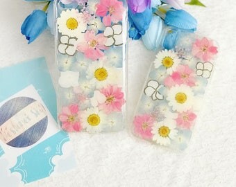 Handmade pressed flowers cellphone Silicone soft case for iphone 7plus 8plus or iphone 10 iphone X flowers case cover