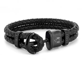 Anchor matt black bracelet James Love real leather
