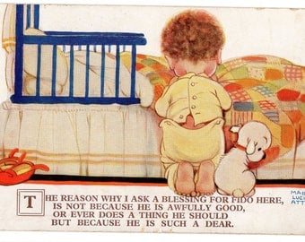 Vintage MABEL LUCIE ATTWELL Postcard, Child and  Dog,Bed, Blessing For Fido,1933