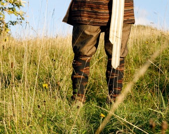 Viking inspired brown men's trousers eco and one of the kind size M