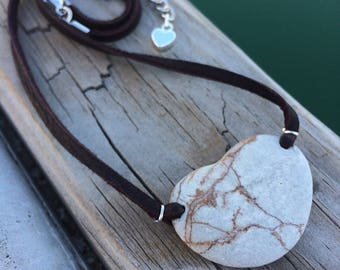 River Rock Heart Shaped Stone Necklace, river rock jewelry, beach pebble jewelry, beach rock necklace, natural stone necklace, eco jewelry