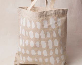 Ovals tote bag - shopping bag, tote bag with eco friendly paint, farmers market, screenprint in green