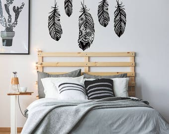 Feathers Wall Decal   Feather Wall Decor, Boho Bohemian Bedroom Decor, Wall  Decal Bedroom
