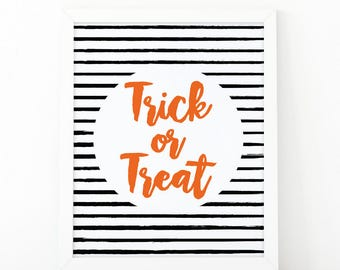 Trick or treat, Halloween Decor, Halloween Party Decor, Fall Decor, Halloween Poster, Halloween Decoration, digital file, Halloween Printt