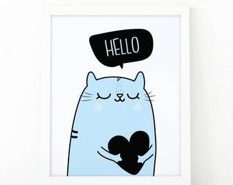 Hello, Heart print, modern wall art, Nursery Wall art, boys wall art, nursery decor, Printable art, scandinavian art, cute wall art, cat