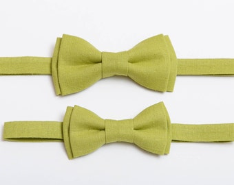 Boys bow tie Lime Green Linen bow tie For men Bow tie for wedding Father son bow tie Mens bow tie Birthday outfit Matching outfit Page boy