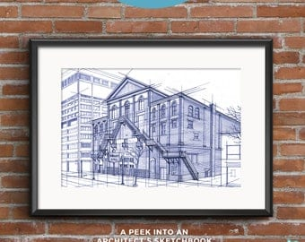 Massey Hall | Blueprints | Hand-drawn sketch of an architectural icon