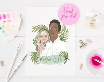 Custom portrait of couple, anniversary gift, paper wedding anniversary, custom watercolour portrait, portrait illustration, gift for her,