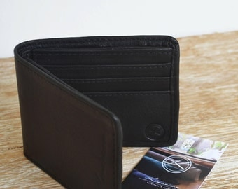 """JANTAN"" black leather men's wallet"