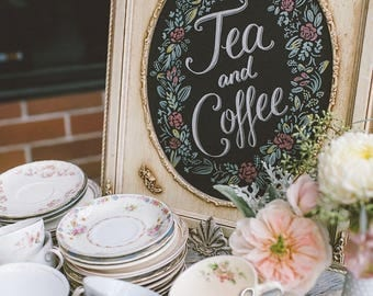 Tea and Coffee printable, chalkboard style instant digital download