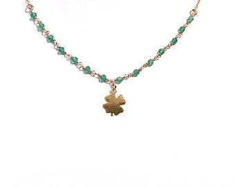 Choker necklace rose vermeil (925 sterling silver plated rose gold) and green Onyx Rosary chain