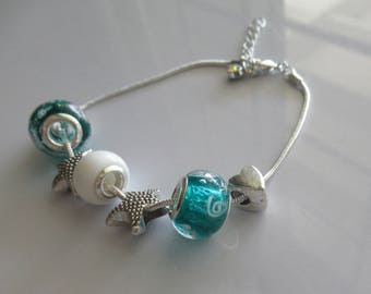 Glass Teal Beads White Enamel Silver Nautical Charms Bracelet by FrenchMermaidInLA