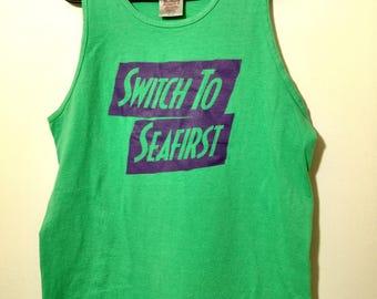 Vintage T-Shirt Sleeveless Muscle Tank Sea Green Purple Switch to Seafirst GORGEOUS!!! Large Oneida