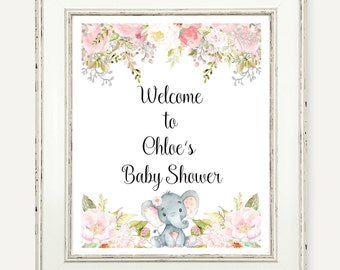 Baby Shower Welcome Sign, Watercolor Floral Party Printable Printable Welcome Sign, Watercolor Peony Flowers Baby Shower Party Decor