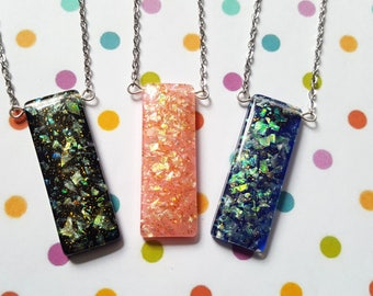 Glitter necklace, Bar necklace, Rectangle necklace, Glitter pendant, Glitter bar necklace, Resin glitter pendant, Glitter, Rectangle
