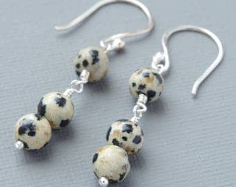 Dalmatian Jasper Hand Crafted Semi Precious Stone and Sterling Silver Earrings With Outrageous Black and White Spots For Turning Heads