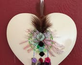 Dorphys Handmade Hand Decorated In Yorkshire Ceramic Heart Wall Hanging