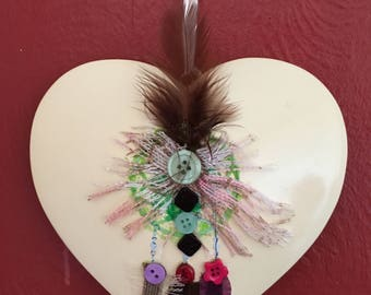 Dorphy's Handmade Hand Decorated In Yorkshire Ceramic Heart Wall Hanging