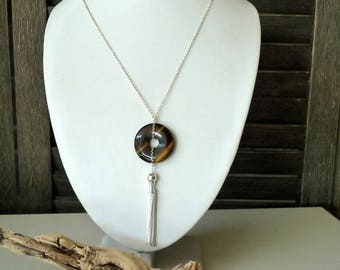 Anaba necklace in 925 sterling silver and Tiger eye